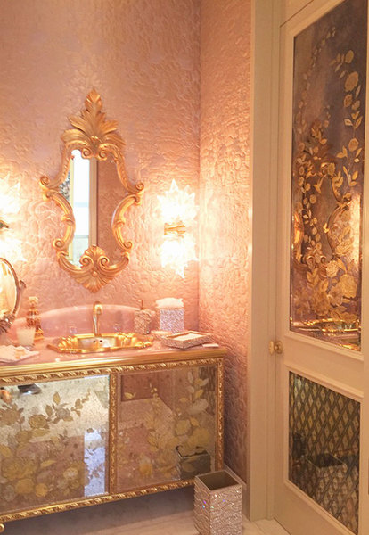 Verre Eglomise vanity and door panels