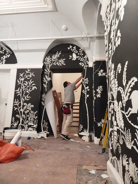 MJ Atelier hand sculpted wallcovering installation