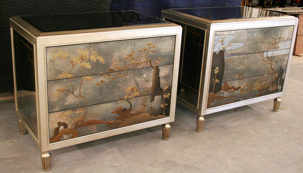 A pair of chinoiserie nightstands, New York, NY