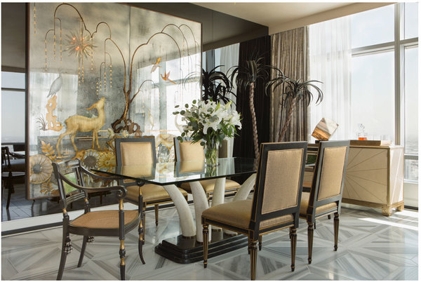 Verre Eglomise Panels for a Dining Room