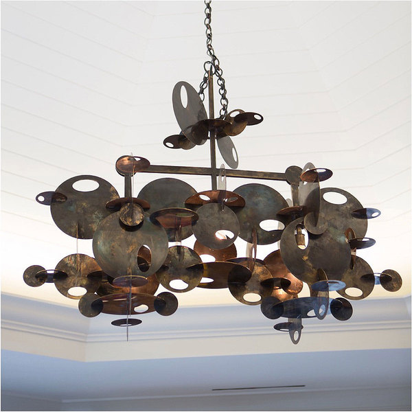 A custom bronze chandelier