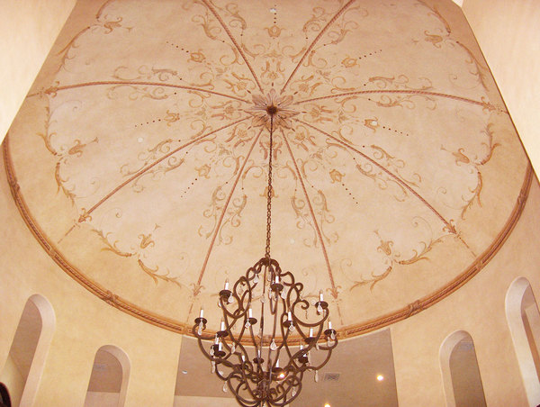 Hand painted dome in the Florentine style, Brentwood, CA