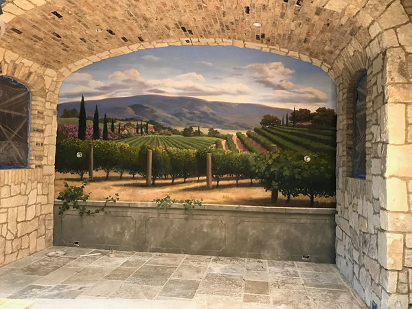 Hand painted mural on canvas in a wine cellar